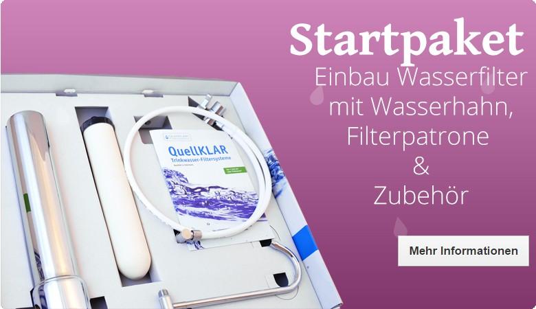 Wasserfilter für den Einbau unter der Spüle: komplettes Startpaket mit dem Wasserfilter KS 400, Filterpatrone, Wasserhahn und Anschlussmaterial