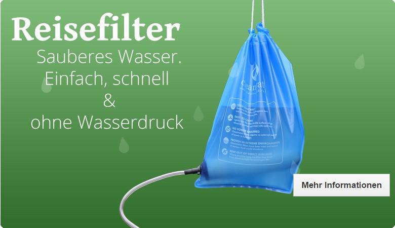 Der Reisefilter ist sehr kompakt, und reinigt auch ohne Wasserdruck problematisches Wasser sehr zuverlässig