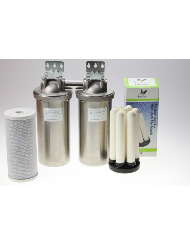Haus Wasserfilter zur Desinfektion für kommunales Leitungswasser mit 6 Keramik Filterkerzen im Edelstahl Gehäuse