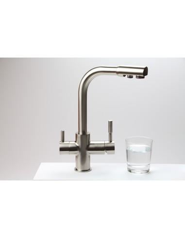 WH 30 Design 3-Wege Küchenarmatur in Nickel matt , Wasserhahn mit 2 Auslässen