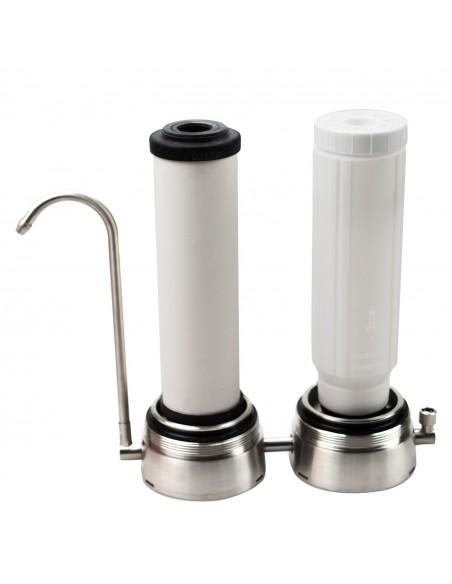 Geöffnetes Gehäuse der Anti-Kalk-Duo Auftischwasserfilters mit eingesetzten Filter