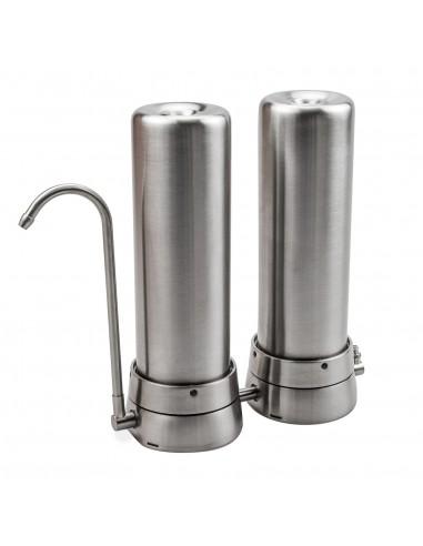 Anti-Kalk-Duo Auftischwasserfilter in Edelstahl