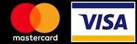 Logos der Kreditkarten Mastercard und Visa, mit denen Sie bei Quellklar einkaufen können